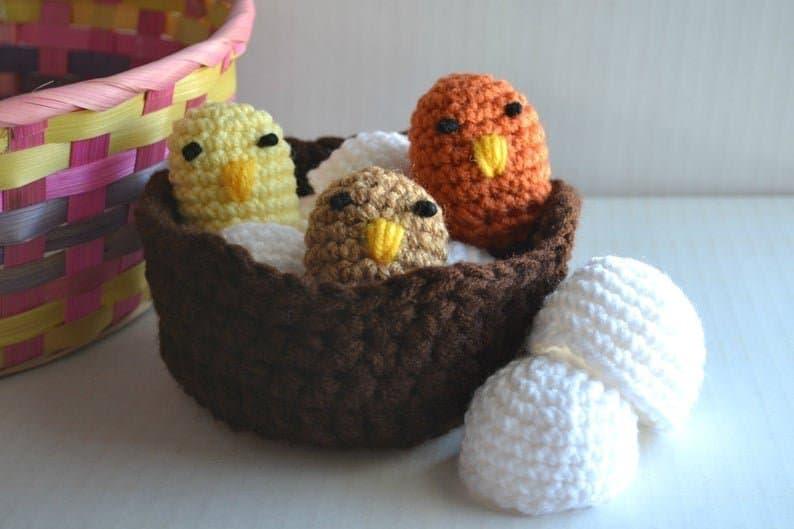 Crocheted baby bird nest toy from Etsy