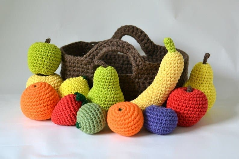 Crocheted play fruit with basket for toddlers
