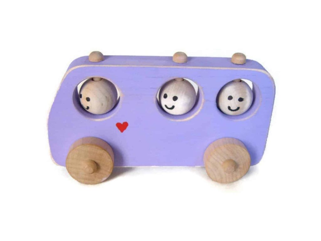 Toddler wooden bus toy