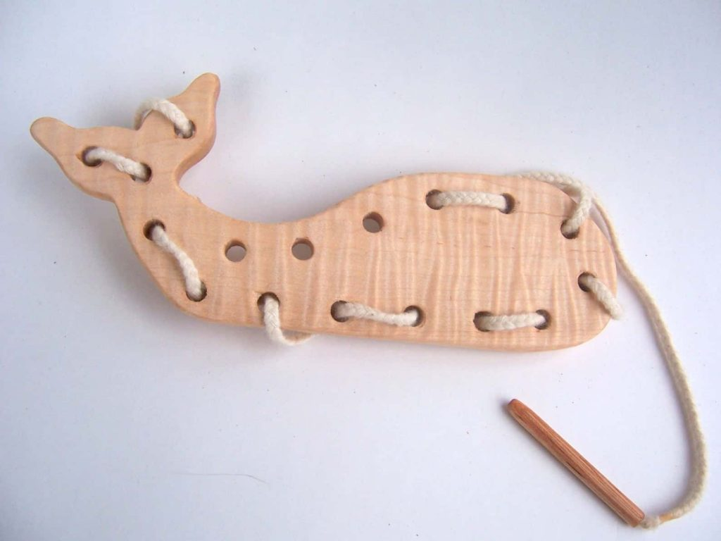 Wooden lacing toy for toddlers