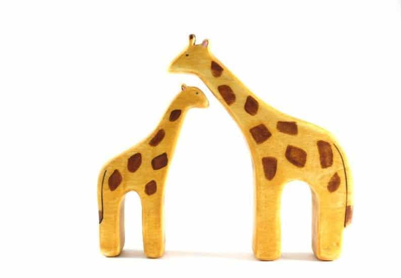 Handmade wooden animal toys from Etsy